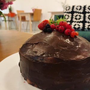 Plantaardige chocoladetaart